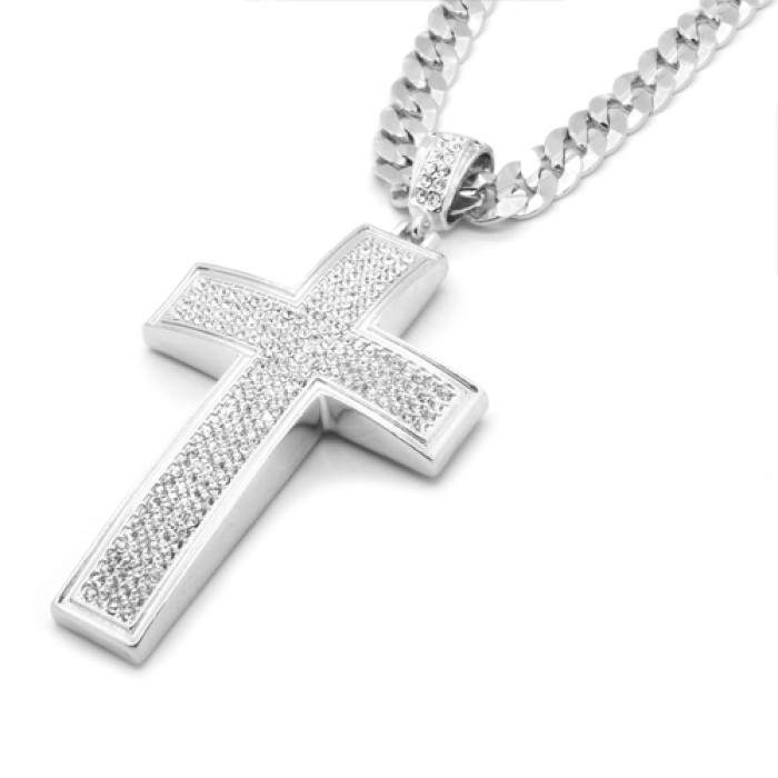 fb2248caf95c3 Silver Iced Out Cross Pendant Hip-Hop 30