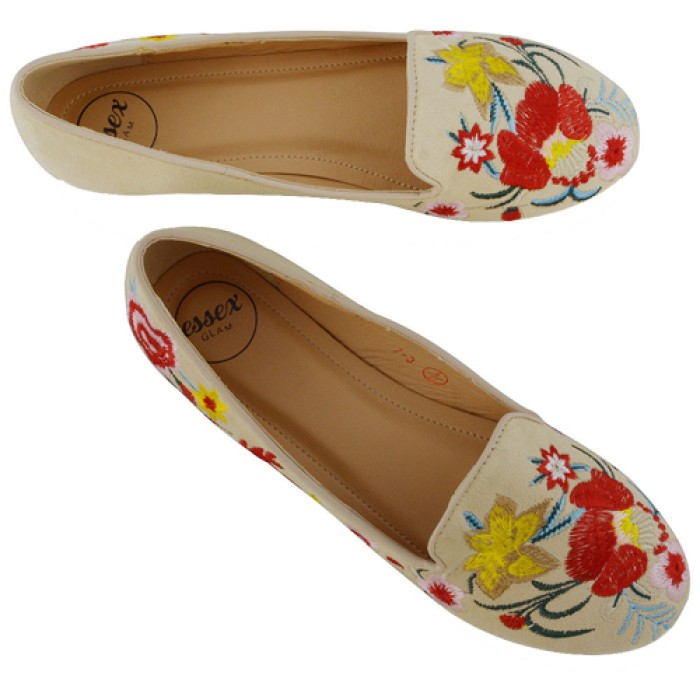 2e2b17d17a58 New Womens Embroidered Loafers Shoes Ladies Floral Slip On Ballerina Flat  Pumps