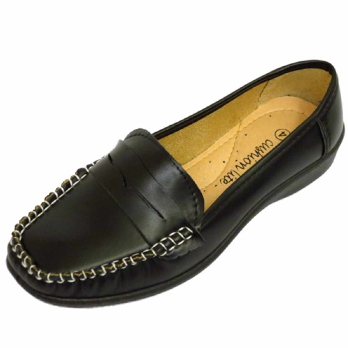 7abba7ed802 WOMENS BLACK LOAFERS COMFY WORK MOCCASIN SLIP-ON CASUAL LADIES SHOES SIZES  3-8