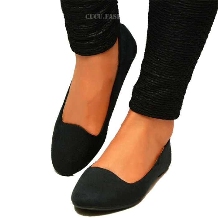 3f0399808cf Womens Ballerina Ballet Dolly Pumps Ladies Flat Black Loafers Shoes Size  New Uk
